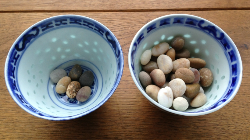 pebbles in cup